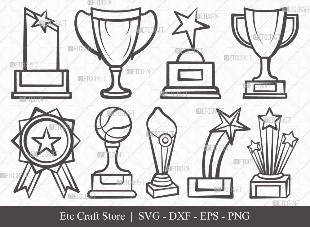 Award Trophy Outline SVG Cut File | Trophy Cup Svg