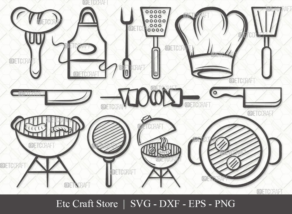 BBQ Outline SVG Cut File | Barbecue Svg