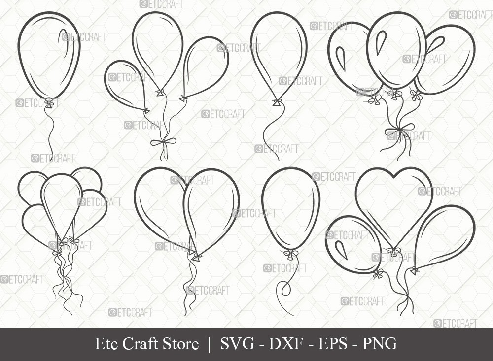 Balloon Outline SVG Cut File | Balloon Svg