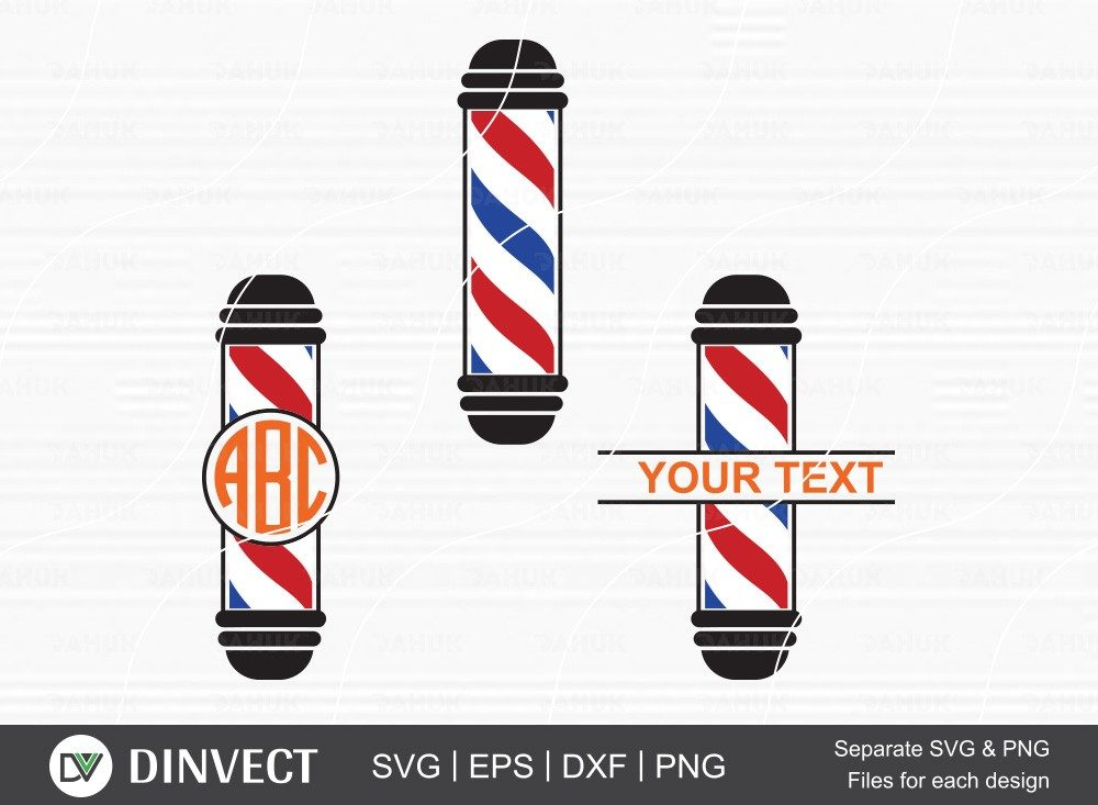 Barbers Pole SVG, Barber Silhouette, Barber Split Monogram