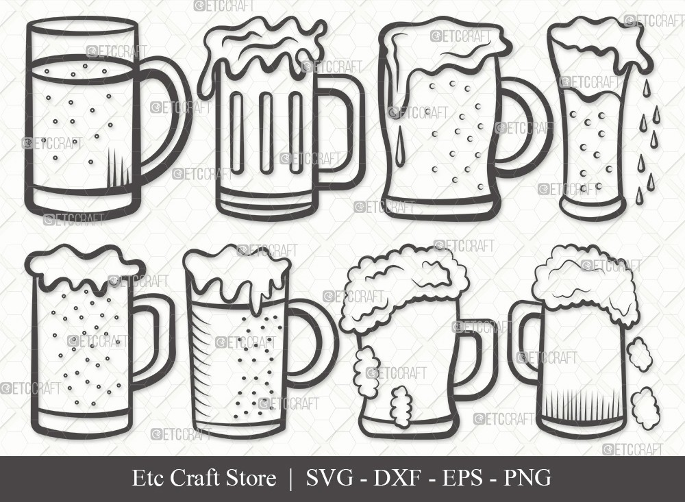 Beer Mug Outline SVG Cut File | Beer Svg
