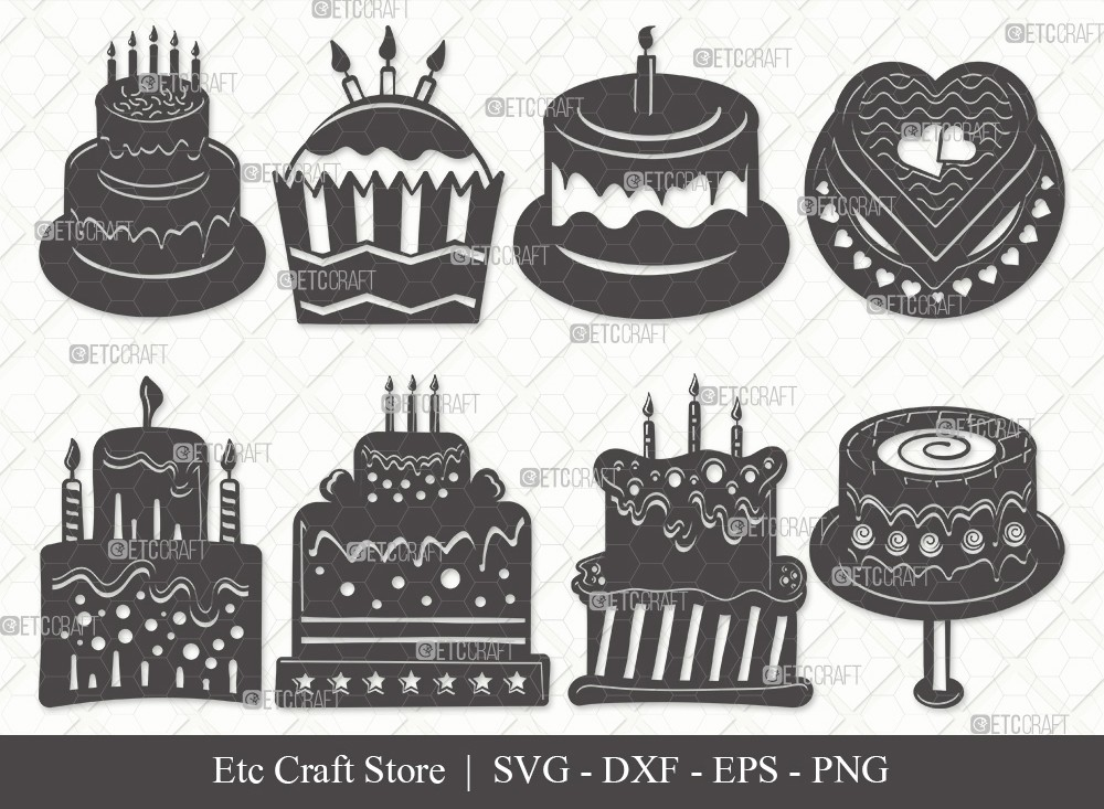 Birthday Cake Silhouette SVG Cut File | Cake Svg