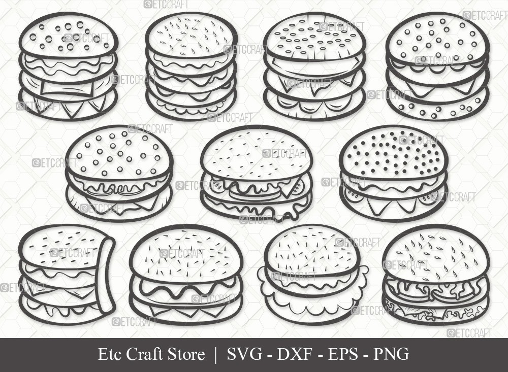 Burger Outline SVG Cut File | Hamburger Svg