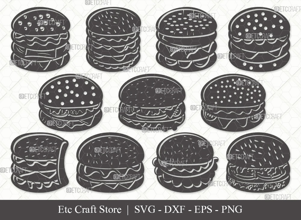 Burger Silhouette SVG Cut File | Hamburger Svg