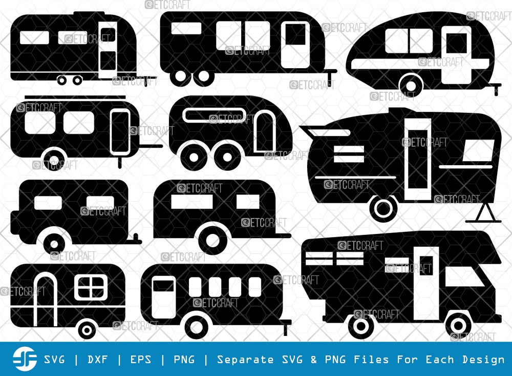 Camper Van SVG Cut Files | Travel Van Silhouette