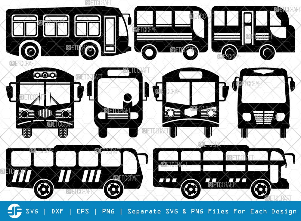 City Bus SVG Cut Files | City Vehicles Silhouette