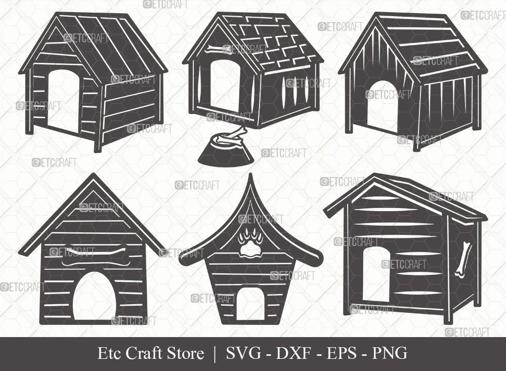 Dog House Silhouette SVG Cut File   Dog Svg