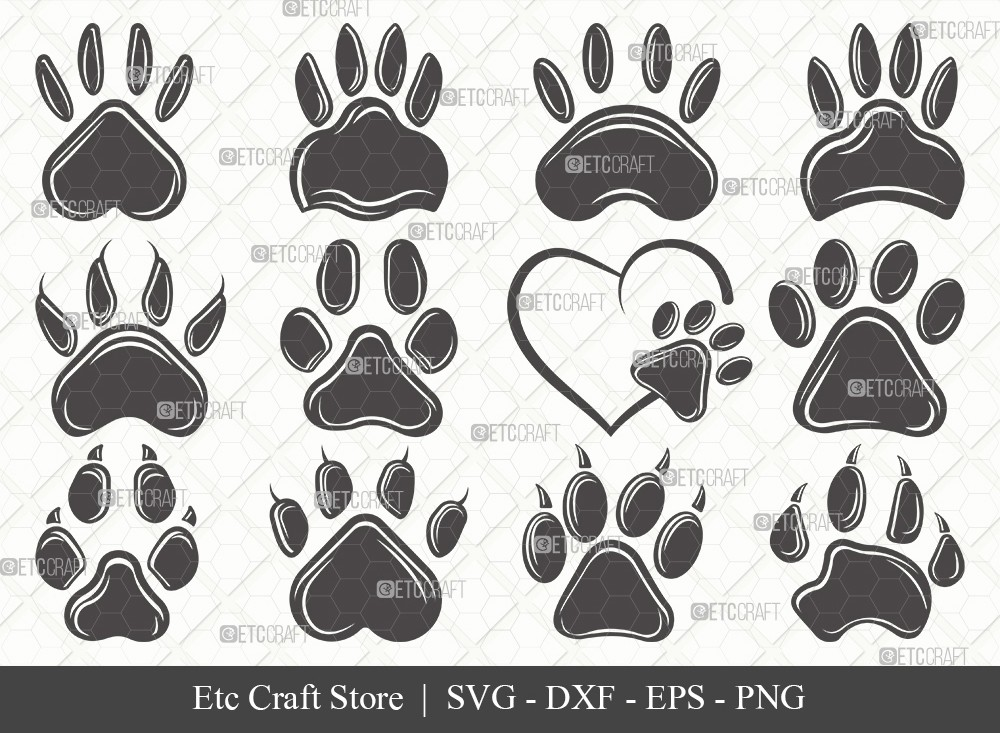 Dog Paw Silhouette SVG Cut File | Paw Print Svg