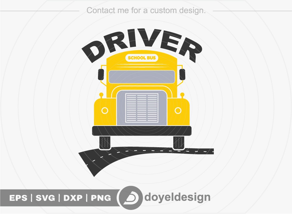 Driver SVG Cut File, School Bus T-shirt Design