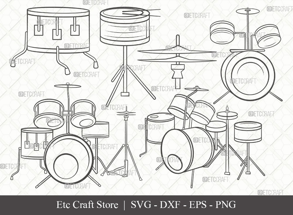 Drum Set Outline SVG Cut File | Music Svg