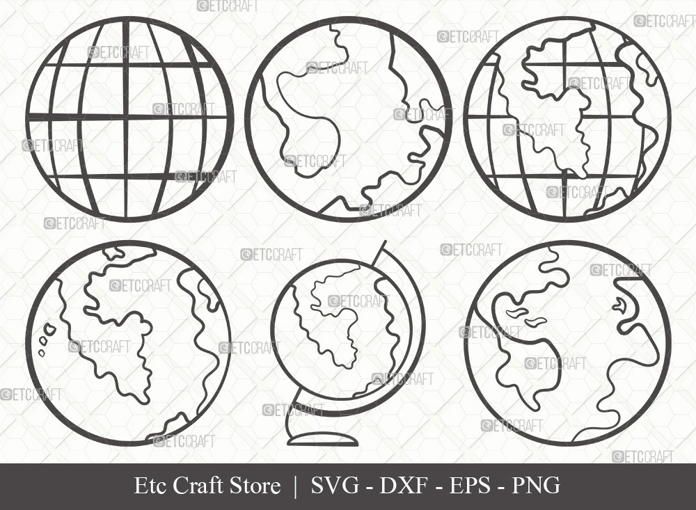Earth Outline SVG Cut File | Planet Svg