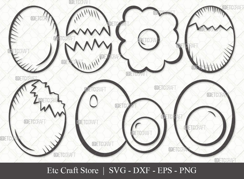 Egg Outline SVG Cut File | Cracked Egg Svg