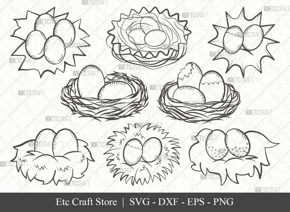 Eggs Nest Outline SVG Cut File | Egg Svg