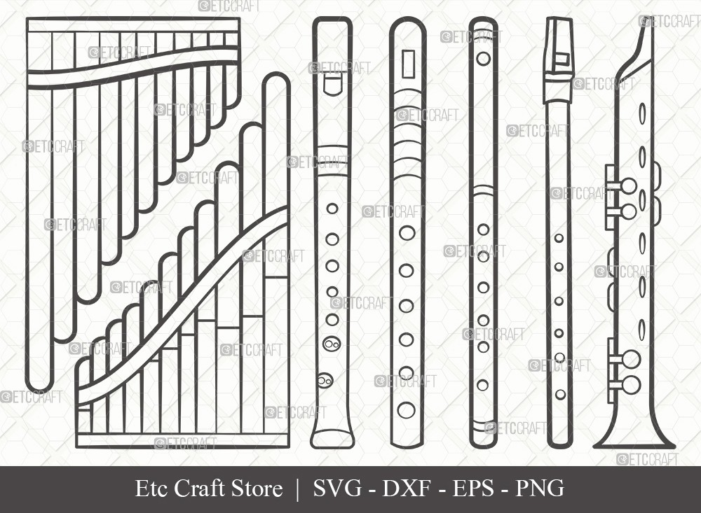 Flute Instrument Outline SVG Cut File