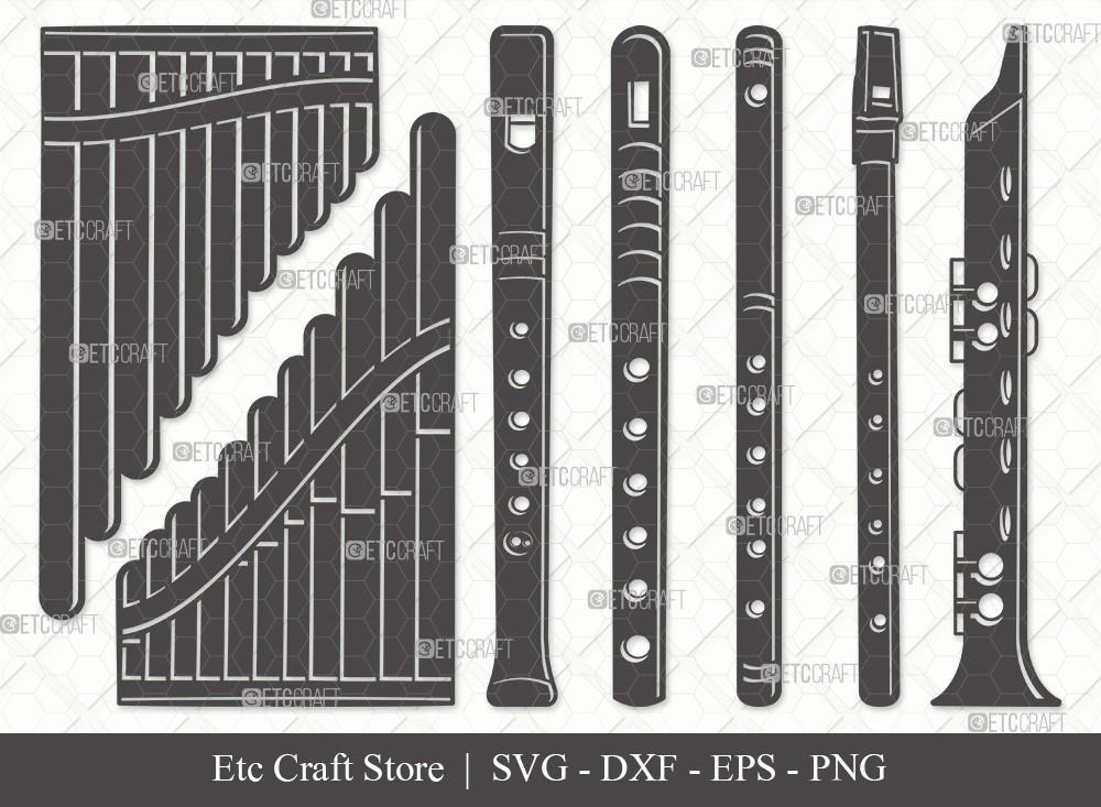Flute Instrument Silhouette SVG Cut File