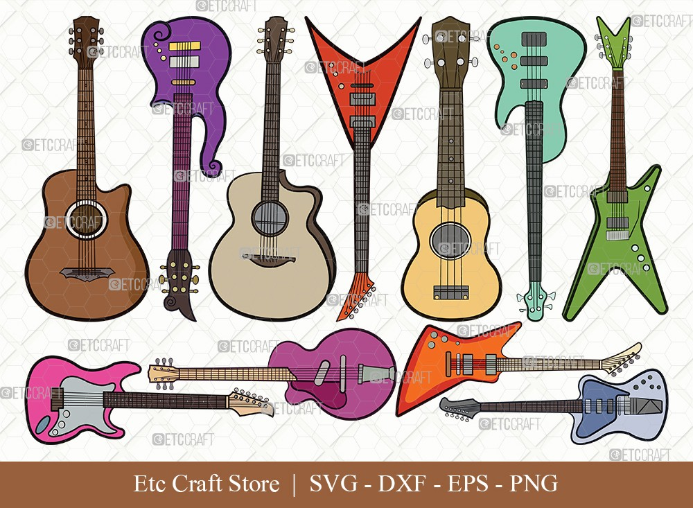 Guitar Clipart SVG Cut File | Electric Guitar Svg