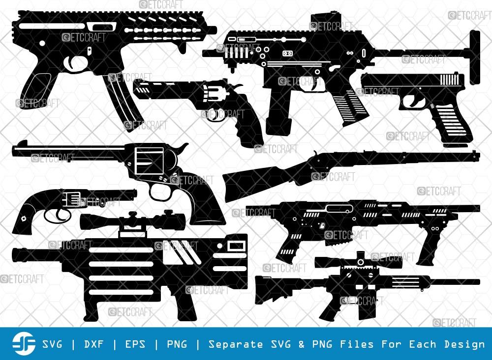 Gun SVG Cut Files | Revolver Silhouette