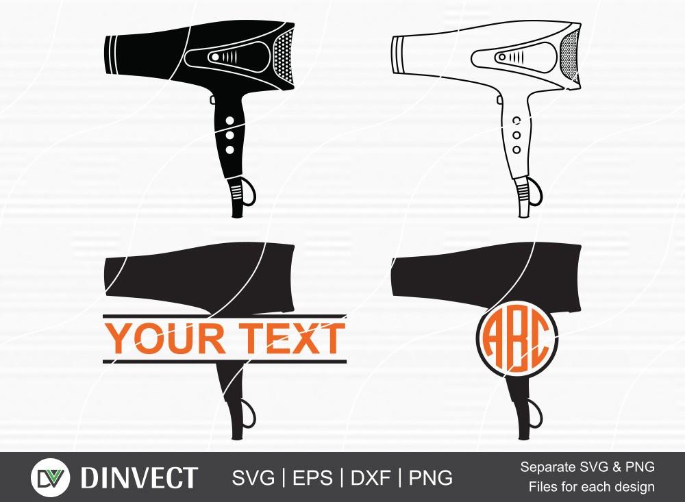 Hair Dryer SVG, Hair Dryer Silhouette, Barber Monogram