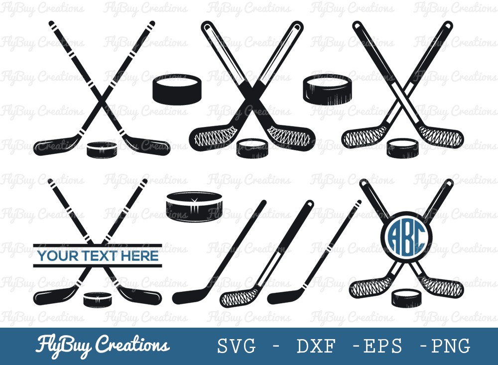 Hockey Puck Sticks SVG Cut File | Hockey Sticks