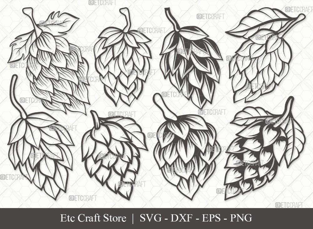 Hops Outline SVG Cut File | Beer Hops Svg