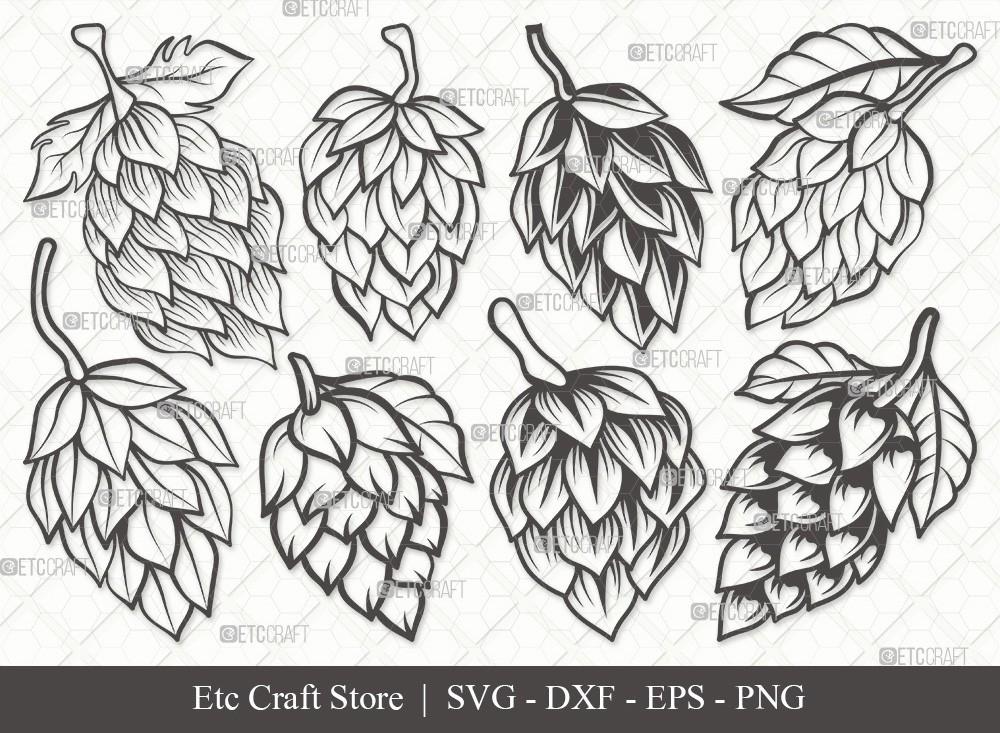 Hops Outline SVG Cut File | Beer Hops Svg