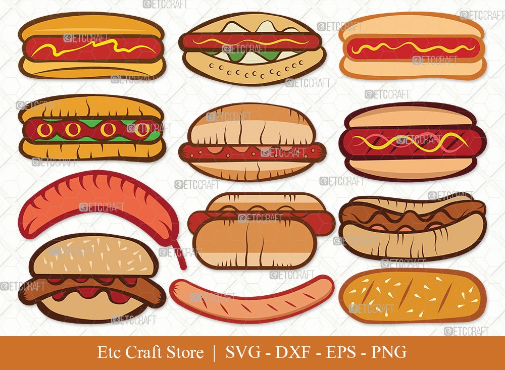 Hot Dog Clipart SVG Cut File | Fast Food Svg