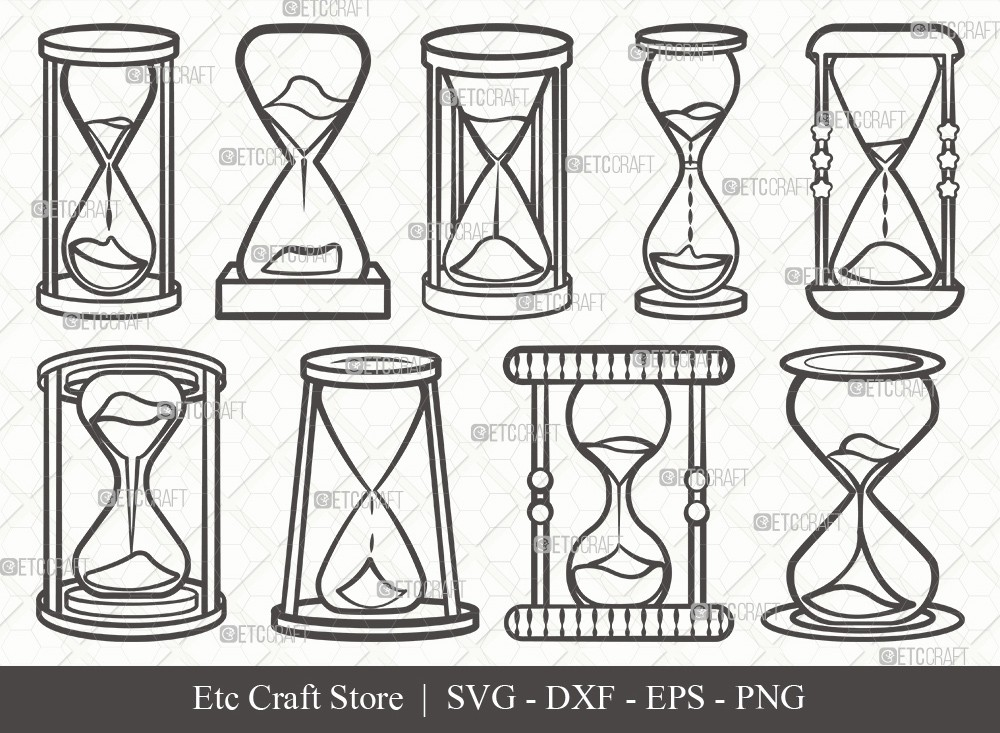 Hourglass Outline SVG Cut File | Hour Glass Svg