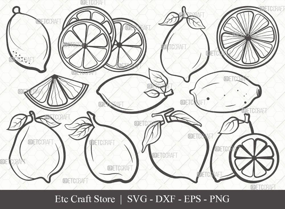 Lemon Outline SVG Cut File | Half Lemon Svg