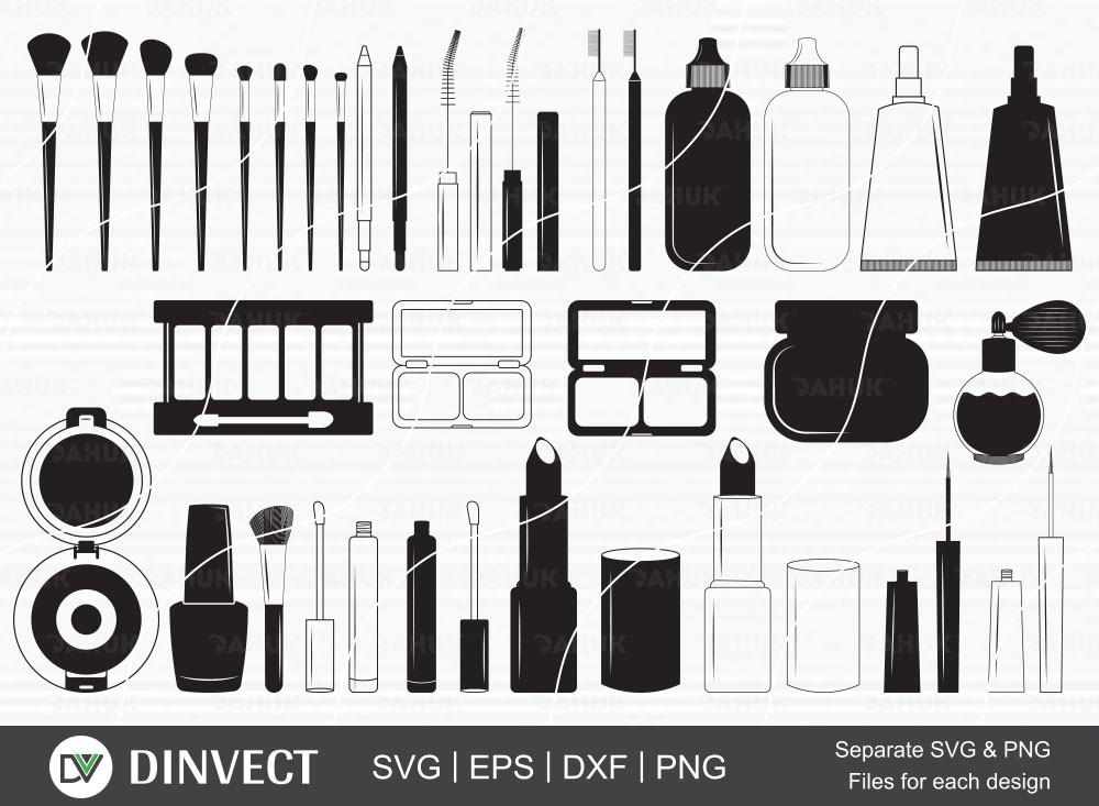 Makeup Bundle SVG, Makeup Equipment Silhouette, Bodyography clipart