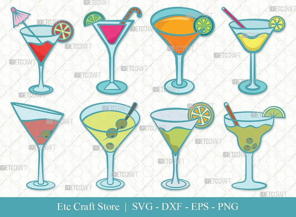 Martini Glass Clipart SVG Cut File