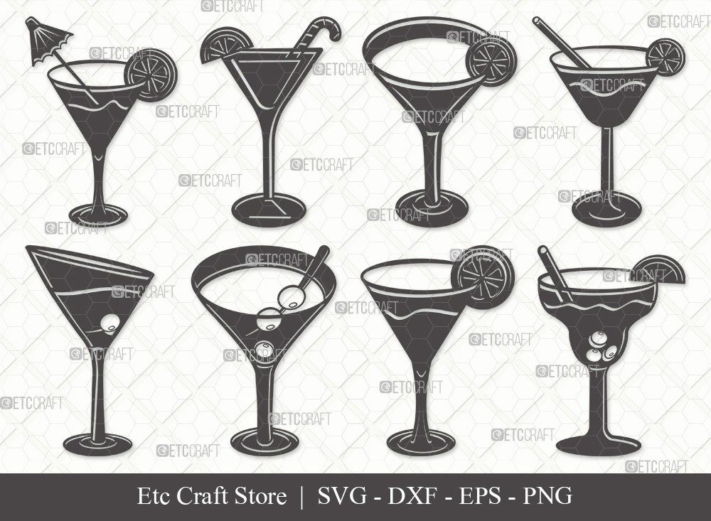 Martini Glass Silhouette SVG Cut File