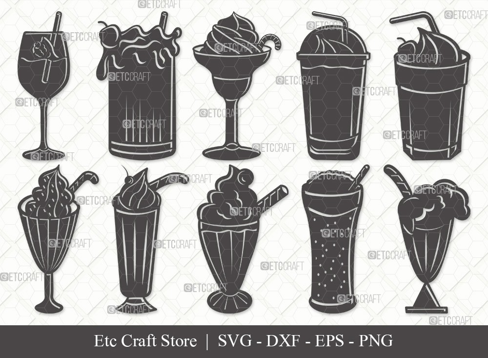 Milkshake Silhouette SVG Cut File | Drink Shake Svg