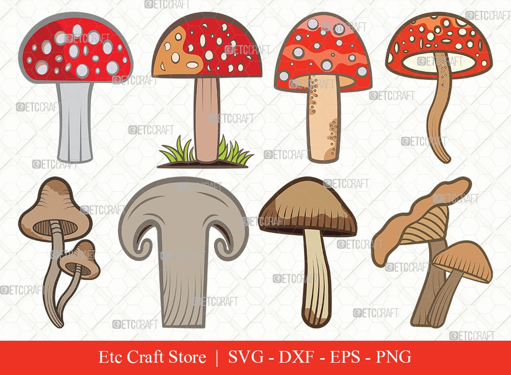 Mushroom Clipart SVG Cut File | Fungus Svg