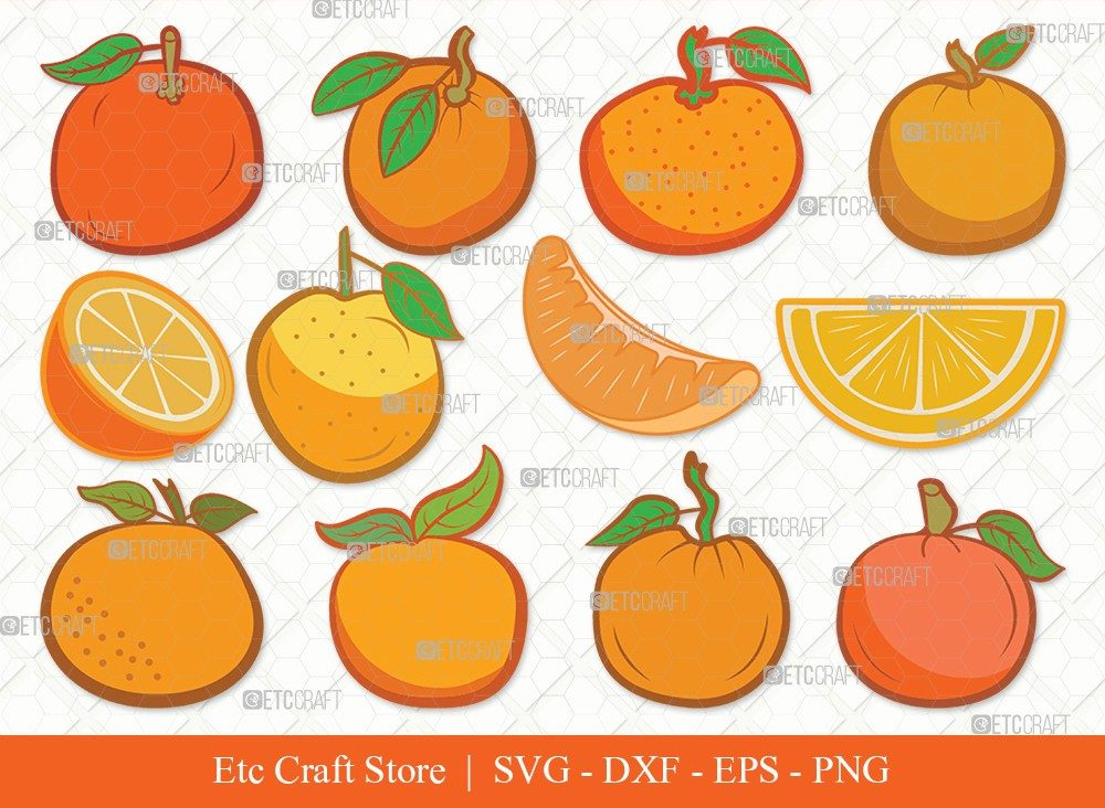 Orange Clipart SVG Cut File | Half-Orange Svg