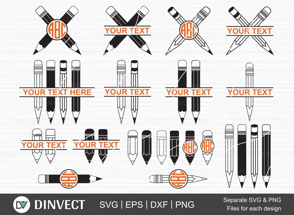 Pencil SVG bundle, Pencil Monogram Clipart, School Silhouette