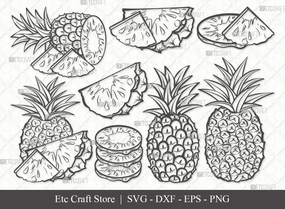 Pineapple Outline SVG Cut File | Summer Svg