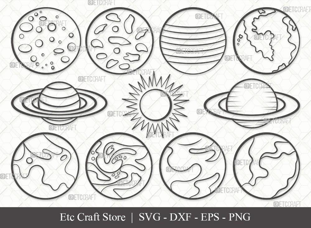 Planet Outline SVG Cut File | Earth Svg