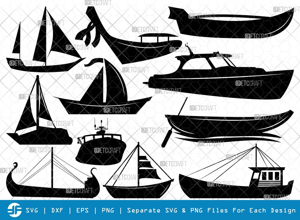 Sea Boats SVG Cut Files | Boat Silhouette