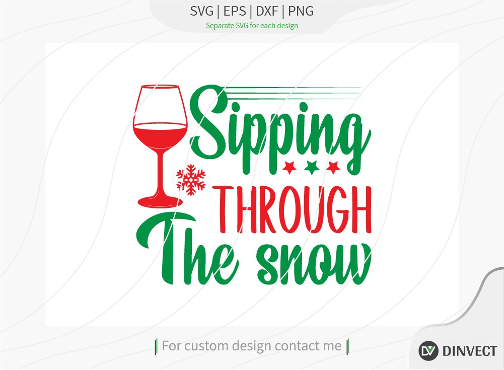 Sipping through the snow SVG Cut File