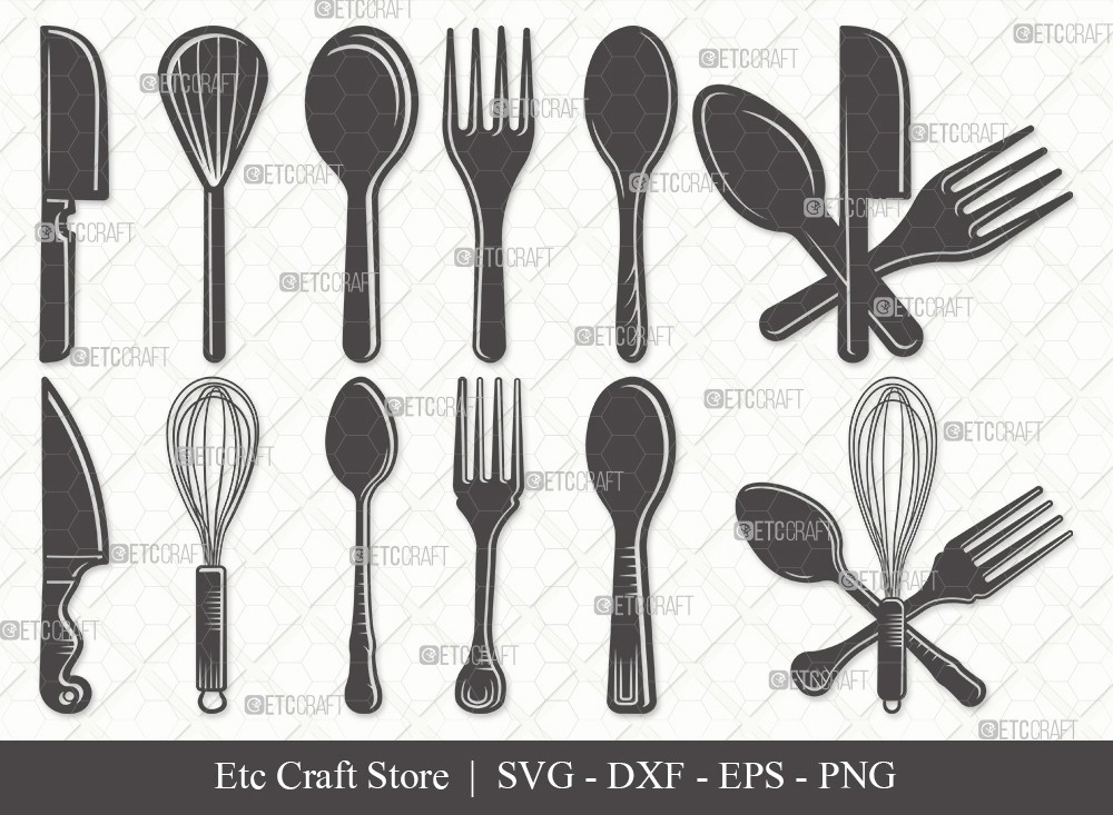 Spoon Silhouette SVG Cut File | Fork Svg