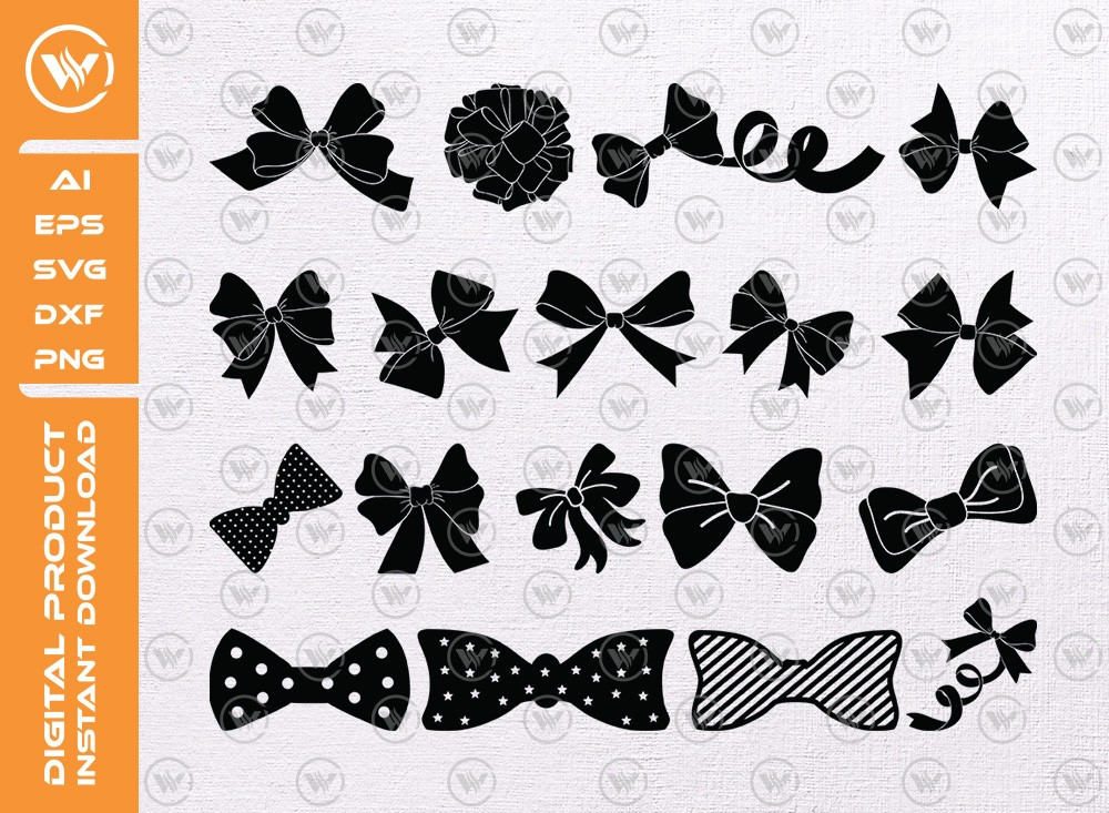 Bows SVG | Bows Silhouette | Bows Icon SVG Cut File