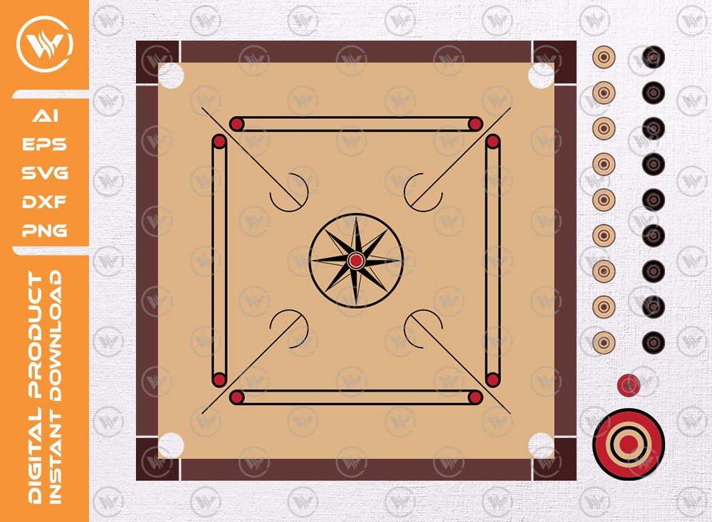 Carrom Board And Pieces SVG | Carrom Board Svg