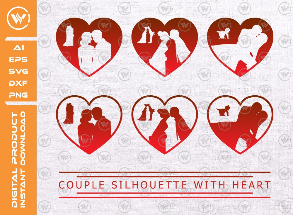 Couple silhouette with heart SVG | Valentine Svg