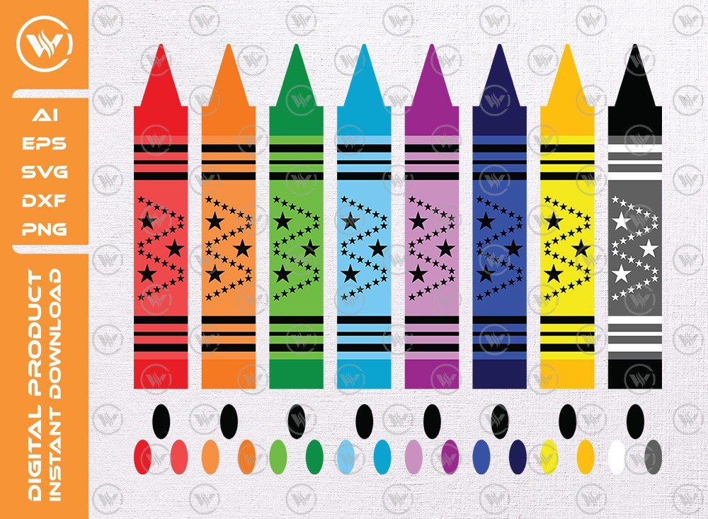 Crayons SVG | Crayons Silhouette | Crayons Icon Cut File