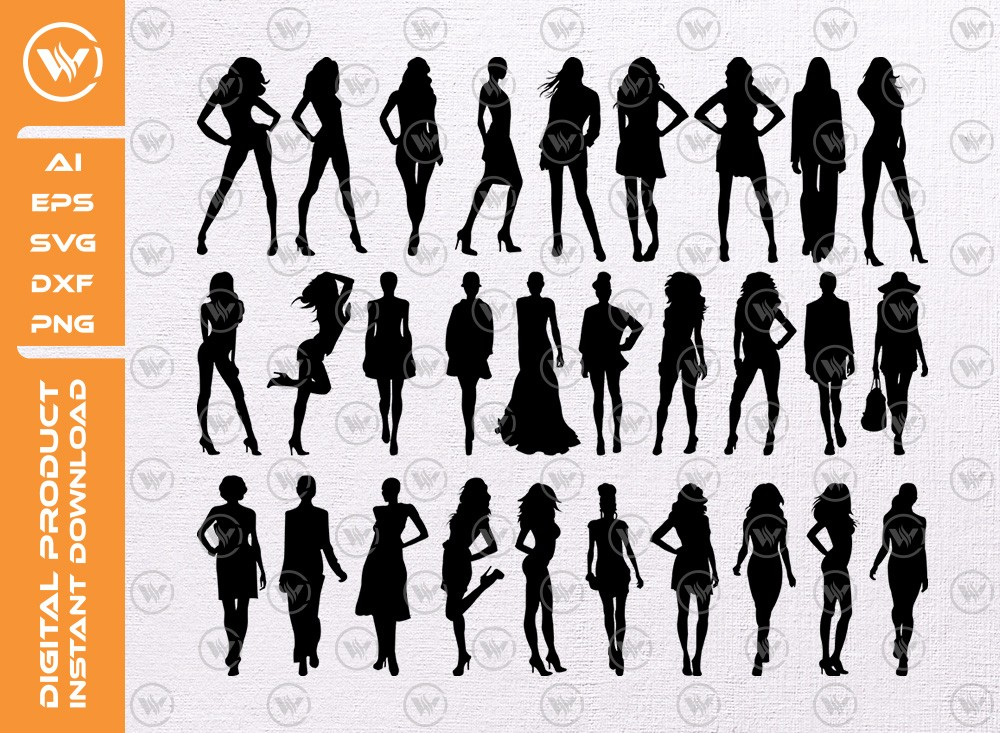 Modeling Girls SVG | Girls Silhouette | Modeling Icon SVG
