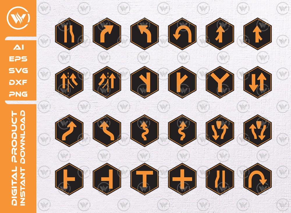 Road signs SVG   Basic Road signs SVG   Road signs icon cut file