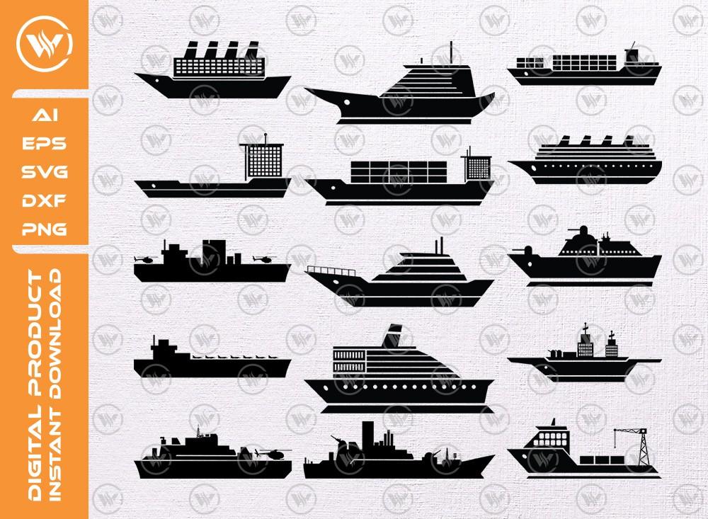 Ship SVG | Ship Silhouette | Ship Icon SVG Cut File
