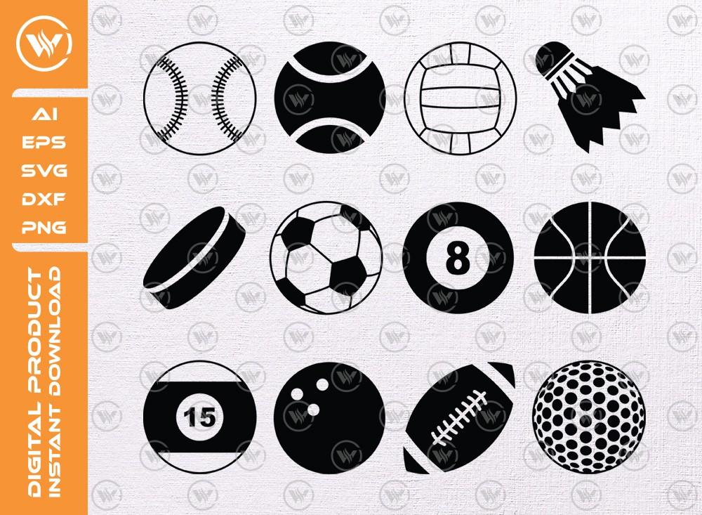 Sport balls Silhouette | Sport balls Icon SVG Cut File