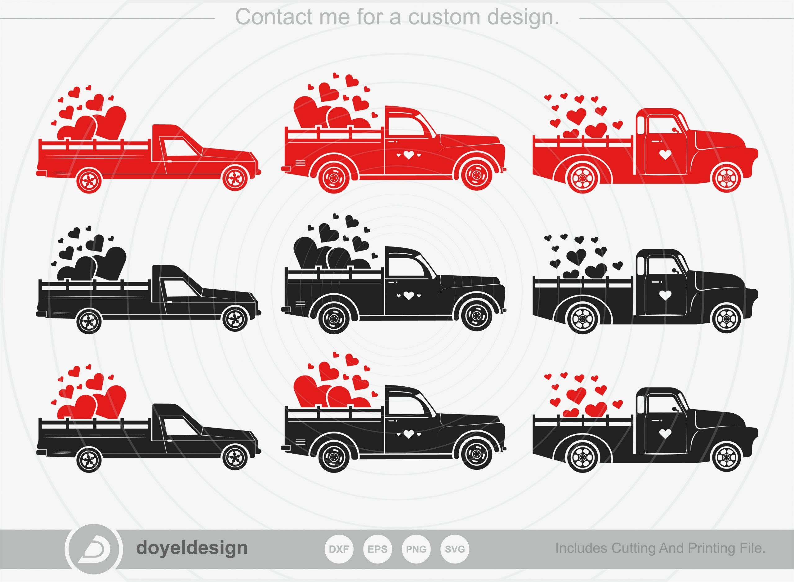Valentines Truck Bundle SVG Cut File