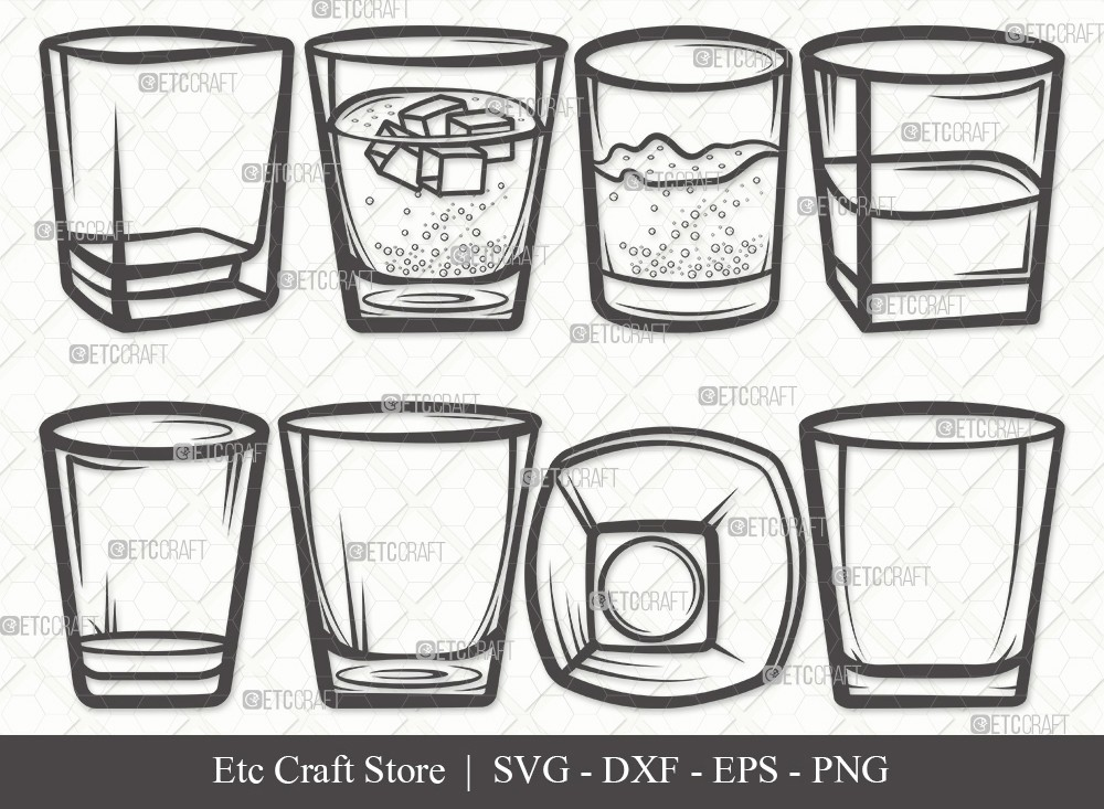 Shot Glass Outline SVG | Alcohol Glass Svg